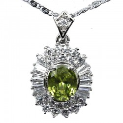 Costume Jewellery Neck;laces, Fashion Pendants, Women Gifts UK, Lime Green Oval Cubic Zirconia Halo Cluster CZ Pendant Necklace