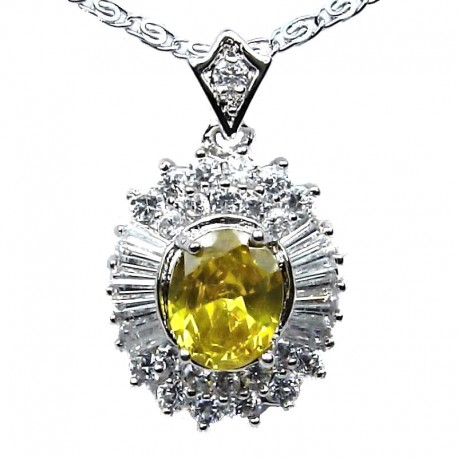 Yellow Oval Cubic Zirconia CZ Classy Pendant with Costume Jewellery Fashion Chain Necklace