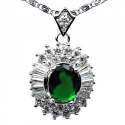 Costume Jewellery Necklaces UK, Fashion Pendants, Women Gift, Emerald Green Oval Cubic Zirconia Halo Cluster CZ Pendant Necklace