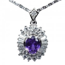 Costume Jewellery Necklace; Fashion Pendants, Woman Girl Gift UK, Purple Oval Cubic Zirconia Halo Cluster CZ Necklace Pendant