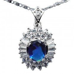 Costume Jewelry Pendants UK, Fashion Necklaces, Women Gift, Royal Blue Oval Cubic Zirconia Halo Cluster CZ Necklace Pendant