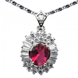 Women Costume Jewelry Necklaces UK, Pink Stone Fashion Pendants, Fuchsia Oval Cubic Zirconia Halo Cluster CZ Necklace Pendant