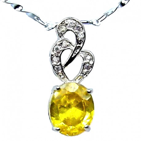 Costume Jewellery Necklace, Yellow Oval Cubic Zirconia CZ Twist Pendant with Fashion Chain