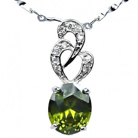 Costume Jewellery Lime Green Oval Cubic Zirconia CZ Twist Pendant with Fashion Chain Necklace