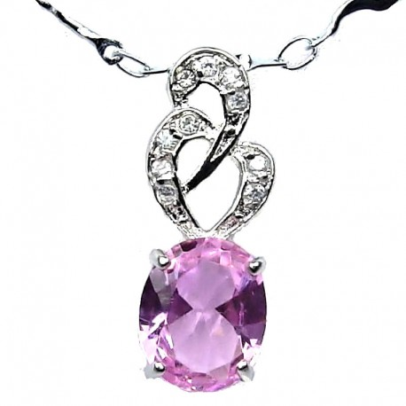Costume Jewellery Necklace, Pink Oval Cubic Zirconia CZ Twist Pendant with Fashion Chain