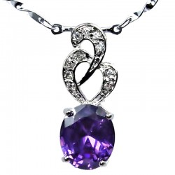 Costume Jewellery Purple Oval Cubic Zirconia CZ Twist Pendant with Fashion Chain Necklace