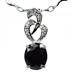 Costume Jewellery Black Oval Cubic Zirconia CZ Twist Pendant with Fashion Chain Necklace