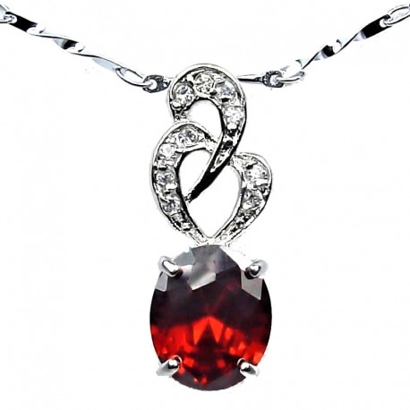 Costume Jewellery Necklace, Red Oval Cubic Zirconia CZ Twist Pendant with Fashion Chain