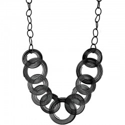 Fashion Black Hoop Loop Circle Interlocking Costume Long Chain Necklace