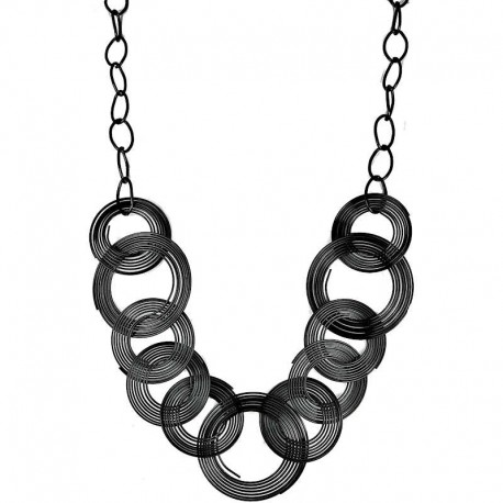 Fashion Black Hoop Loop Circle Interlocking Costume Long Chain Necklace