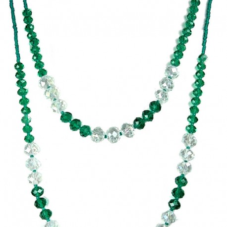 Fashion Green & Clear Glass Bead Double Strand Long Beaded Necklace