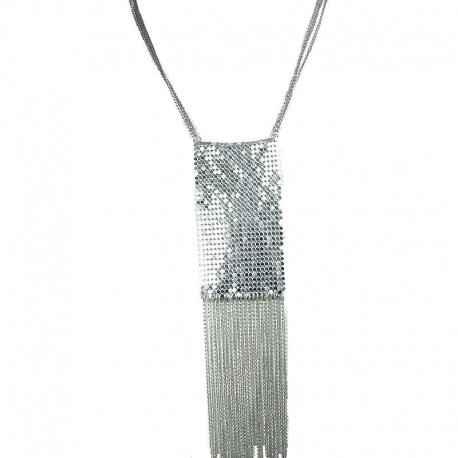Silver Metal Mesh Rectangle Fashion Long Chain Tassel Costume Necklace