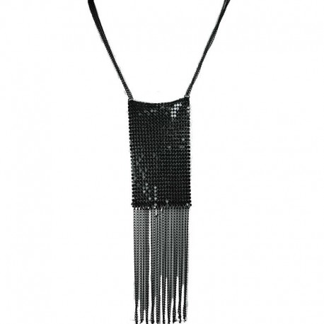 Black Metal Mesh Rectangle Fashion Long Chain Tassel Costume Necklace
