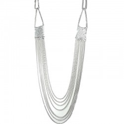 Silver Mesh Chain Link Multi Layer Classic Long Fashion Necklace