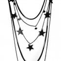 Black Star Multi Layer Long Black Plated Chain Necklace