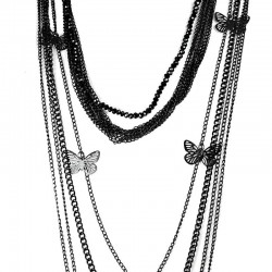 Black Butterfly Multi Layer Long Chain Necklace