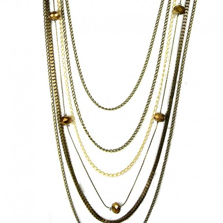 Fashion Women's Costume Jewellery Gift, Burnish Brass Multi Layer Long Chain Necklace