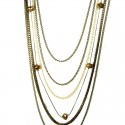 Burnish Brass Multi Layer Long Chain Necklace