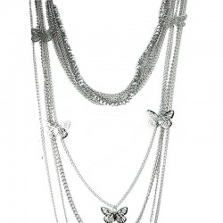 Silver Butterfly Fashion Multi Layer Long Chain Costume Necklace
