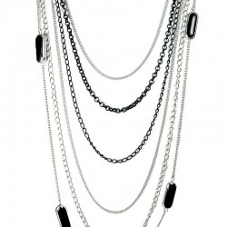 Silver & Black Bead Multi Layer Long Chain Costume Jewellery Necklace