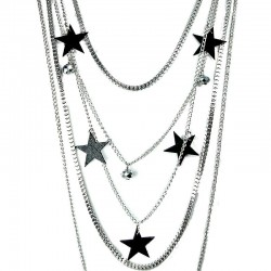 Black Star Multi Layer Long Silver Chain Fashion Necklace