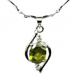 Lime Green Cubic Zirconia CZ Swirl Whirl Pendant with Costume Jewellery Fashion Chain Necklace