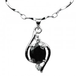 Costume Jewellery, Black Cubic Zirconia CZ Swirl Whirl Pendant with Fashion Chain Necklace