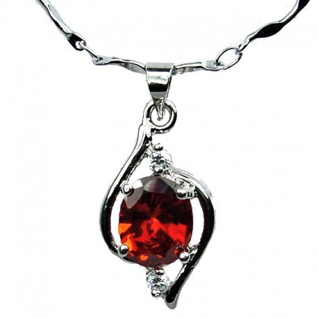 Red Cubic Zirconia CZ Swirl Whirl Pendant & Costume Jewellery Fashion Chain Necklace