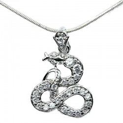 Fashion Jewellery Necklace, Clear Cubic Zirconia CZ Snake Pendant & Costume Chain