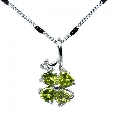 Costume Jewellery Necklace,Lime Green Heart Cubic Zirconia CZ Four Leaf Clover Pendant with Fashion Chain