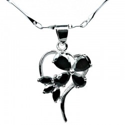 Costume Jewellery Necklace, Black Cubic Zirconia CZ Butterfly Open Heart Pendant with Fashion Chain