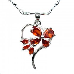 Costume Jewellery, Red Cubic Zirconia CZ Butterfly Open Heart Pendant with Fashion Chain Necklace
