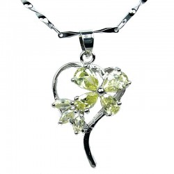 Costume Jewellery, Lime Yellow Cubic Zirconia CZ Butterfly Open Heart Pendant with Fashion Chain Necklace