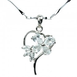 Costume Jewellery Necklace, Clear Cubic Zirconia CZ Butterfly Open Heart Pendant with Fashion Chain