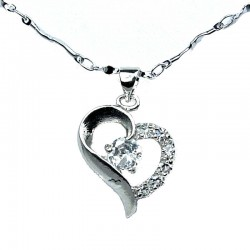 Costume Jewellery Fashion Necklace, Clear Cubic Zirconia CZ Open Heart Pendant & Chain