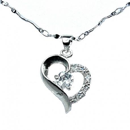 Costume Jewellery Fashion Necklace, Clear Cubic Zirconia CZ Open Heart Pendant & Chain