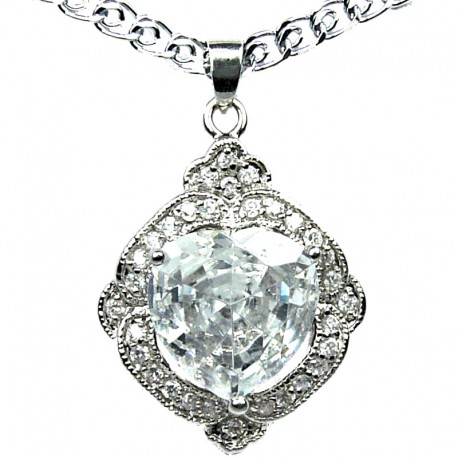Costume Jewellery, Clear Cubic Zirconia CZ Halo Heart Pendant & Fashion Chain Necklace