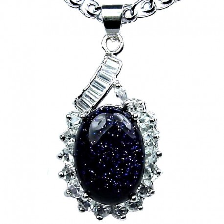 Fashion Jewellery, Black Lapis Lazuli Natural Stone Classy Oval Pendant & Costume Chain Necklace