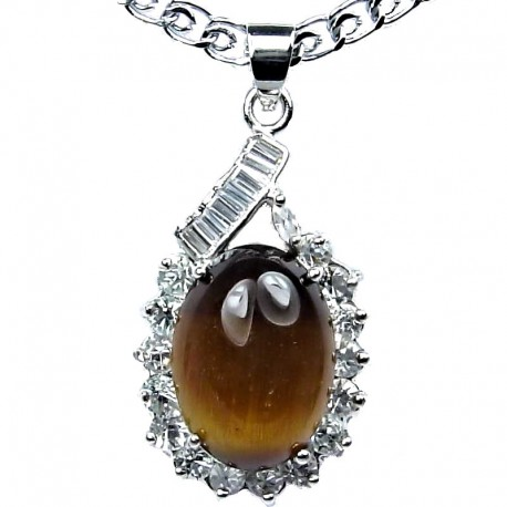 Costume Jewellery, Tigers Eye Natural Stone Classy Oval Pendant with Fashion Chain Necklace