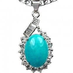 Fashion Jewellery,Turquoise Natural Stone Classy Oval Pendant & Costume Chain Necklace