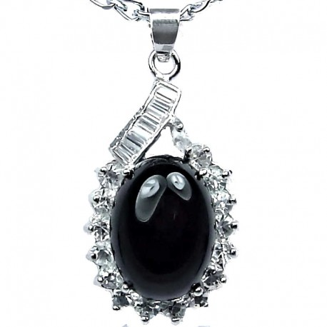 Fashion Jewellery Necklace, Black Agate Natural Stone Classy Oval Pendant with costume chain