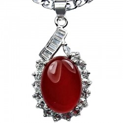 Costume Jewellery Necklace, Red Agate Natural Stone Classy Oval Pendant with Costume Chain