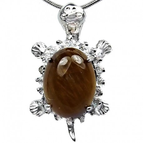 Fashion Jewellery Necklace, Tiger-Eyes Natural Stone Turtle Tortoise Pendant with Costume Chain