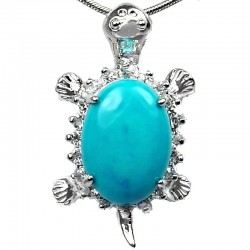 Fashion Jewellery Necklace, Turquoise Natural Stone Turtle Tortoise Pendant with Costume Chain