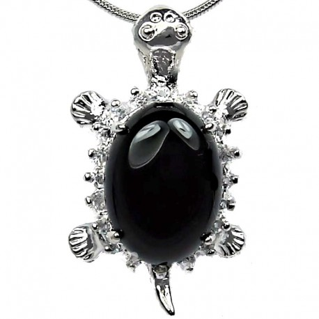 Fashion Jewellery Necklace, Black Agate Natural Stone Turtle Tortoise Pendant with Costume Chain