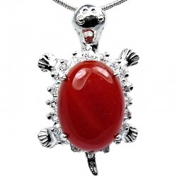 Costume Jewellery Necklace, Red Agate Natural Stone Turtle Tortoise Pendant with Fashion Chain