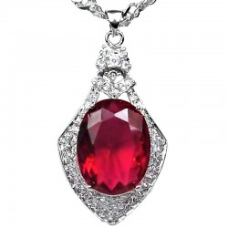 Costume Jewellery Fuchsia Royal Oval Rhinestone Diamante Pendant & Fashion Chain Necklace