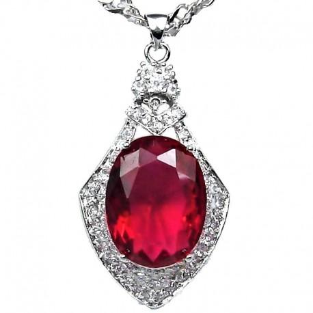 Costume Jewellery Fuchsia Royal Oval Rhinestone Diamante Pendant & Fashion Chain Necklace