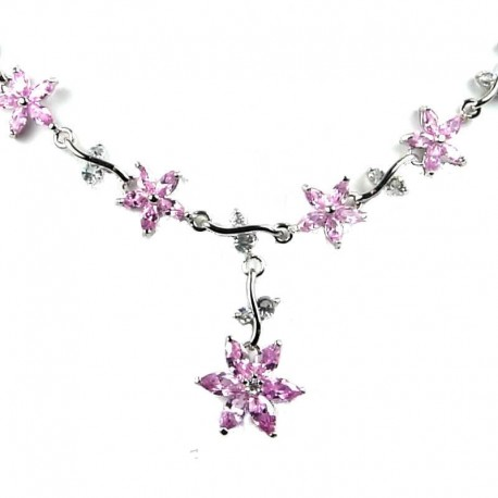 Bridal Jewellery Pink Cubic Zirconia CZ Crystal Flower Dress Necklace as Wedding Gift