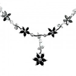 Bridal Jewellery; Black Cubic Zirconia CZ Crystal Flower Dress Necklace as Wedding Gift